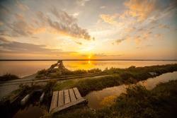 Saline di Cervia Natural Park and Wildlife Reserve at sunset