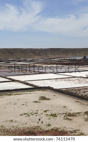 "Saline  "" Salinas de Janubio ""  in Lanzarote . Lanzarote a Spanish island, is one of the Canary Islands, in the Atlantic Ocean, appr. 125 km off the coast of Africa."