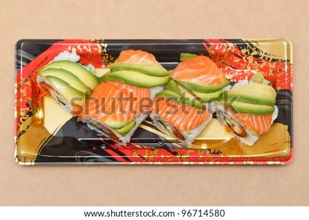 Salmon and avocado sushi - stock photo