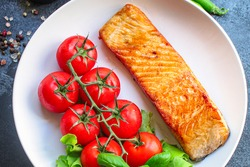 salmon barbecue grill fried Menu concept serving size. food background top view copy space for text keto or paleo pescatarian diet