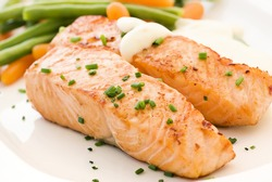 Salmon filet with Beans