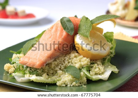 Salmon fillet and couscous