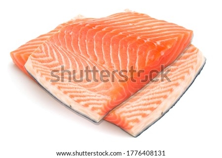 salmon fillet fish in white background