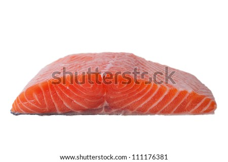 Salmon fillet in blue box isolated on white.
