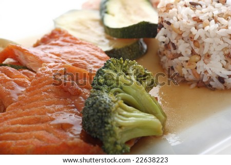 Salmon fillet with rice and vegetables on a plate.