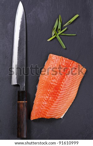 salmon fillet with yanagiba knife