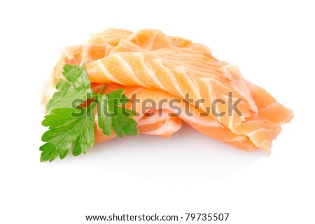 Salmon fish isolated on white, clipping path included