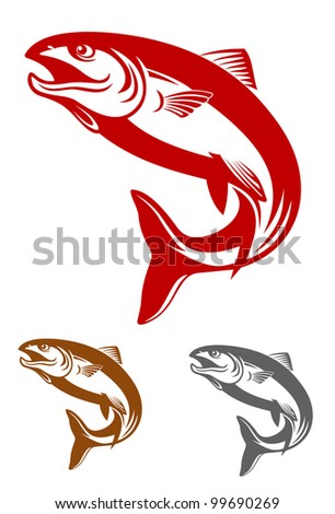 Salmon fish mascot in retro style isolated on white background, such  a logo. Vector version also available in gallery