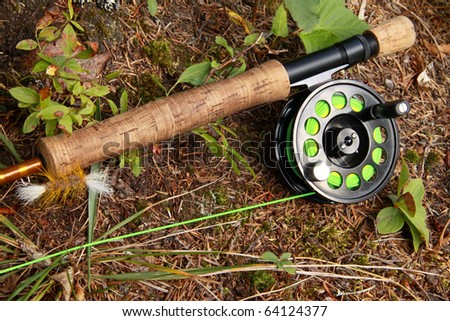 fishing rod and reel. stock photo : Salmon Fly Fishing Rod and Reel