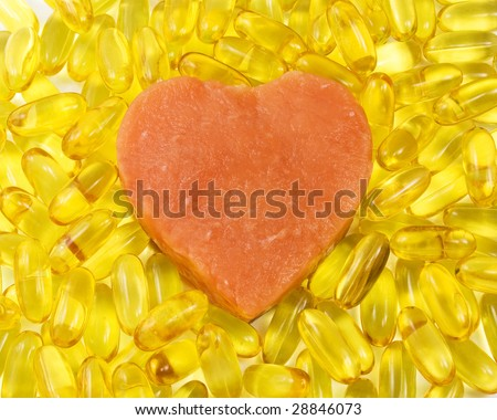 salmon heart surrounded by salmon oil