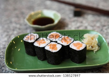 Salmon Maki sushi - stock photo