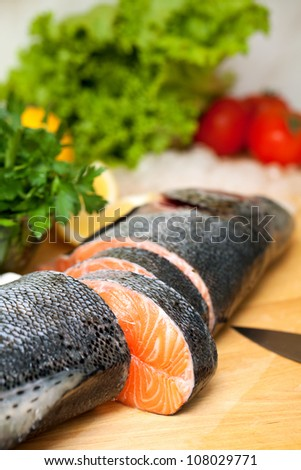 salmon on cutting board