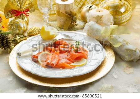 salmon on dish on christmas table