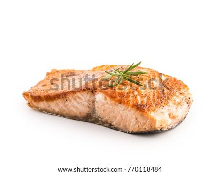 Salmon roast steak isolated on white background.