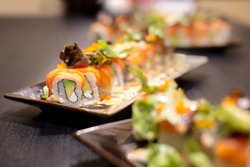 Salmon roll sushi with avocado , crab and vegetable - Healthy japanese restaurant food