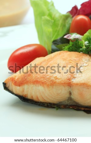 Salmon salad background mixes vegetable