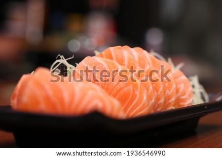 SALMON SASHIMI FISH JAPANESE FOOD Foto d'archivio ©
