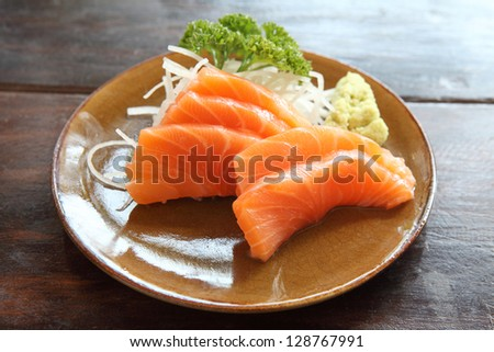 salmon sashimi isolated in white background