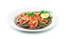 Salmon Spicy Salad in Pickled fish sauce Thai spicy Food decorate with cucumber and lime Asian Food Appetizer dish break time goodtasty diet side view