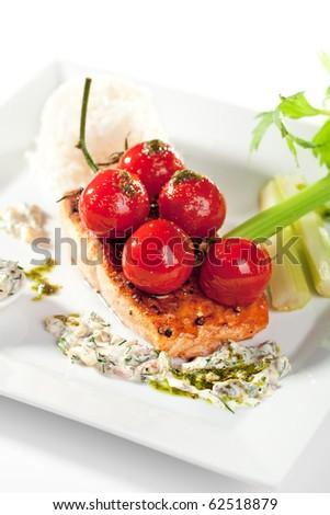 Salmon Steak with Fresh Celery and Cherry Tomato