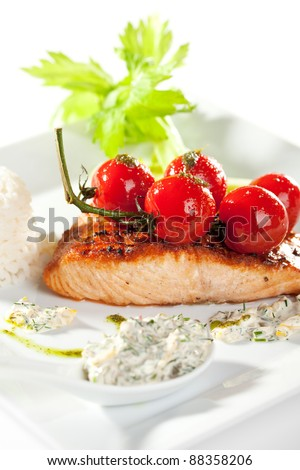 Salmon Steak with Fresh Celery and Cherry Tomato