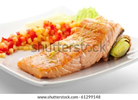 Salmon Steak with Vegetables and Salad Leaf