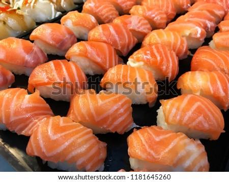 salmon sushi in japan restaurant #1181645260