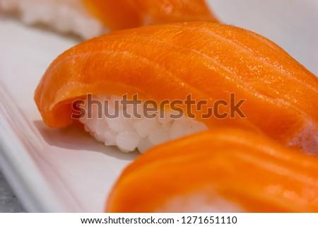 Salmon sushi, Japanese food, raw food