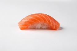 Salmon sushi nigiri isolated on white background.