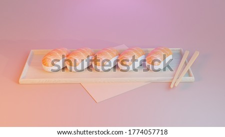 Salmon Sushi set on wooden board. Isolated on pink background. concept of snack, sushi, exotic nutrition, sushi restaurant, sea food. 3d rendering.