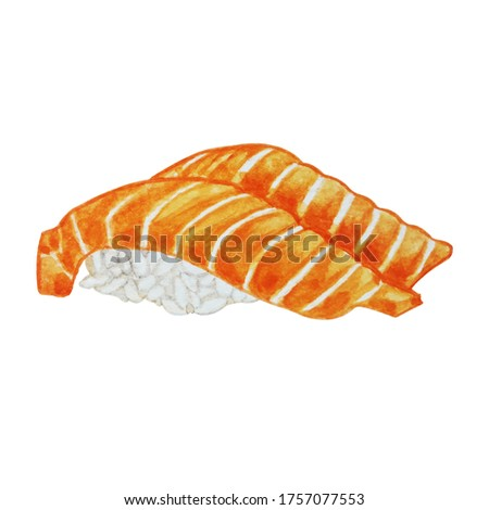 Salmon Sushi Watercolor Painting on White Background Hand Drawn