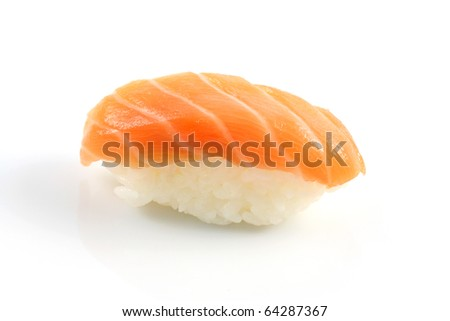salmon sushi with white background