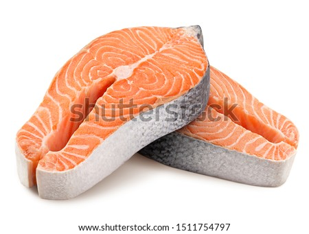 salmon, trout, steak, slice of fresh raw fish, isolated on white background, clipping path, full depth of field