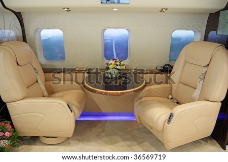 Salon of expensive helicopter class business - stock photo