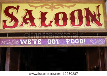 Saloon sign in Wild West style - stock photo