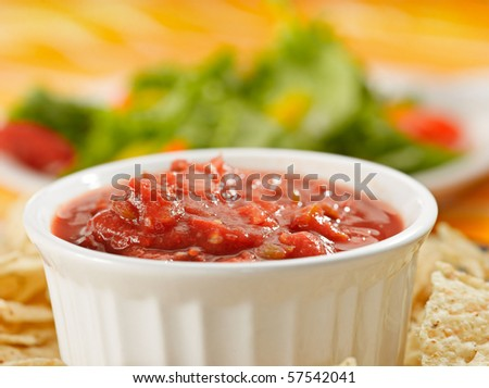 salsa and chips closeup