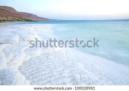 Salt accumulation on the Dead Sea shore in Jordan