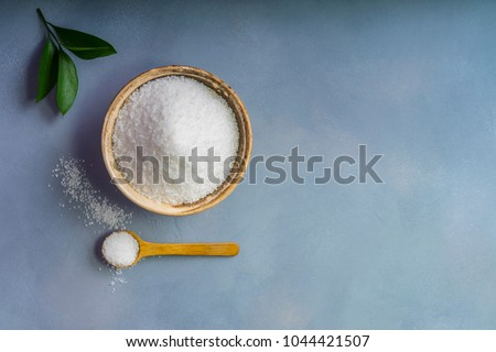 salt and copy space on a gray background
