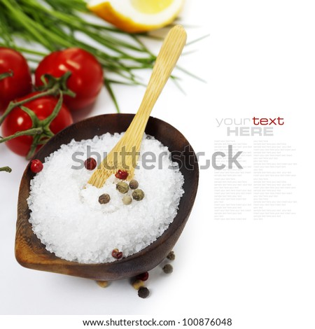 Salt and fresh vegetables over white (with easy removable sample text)