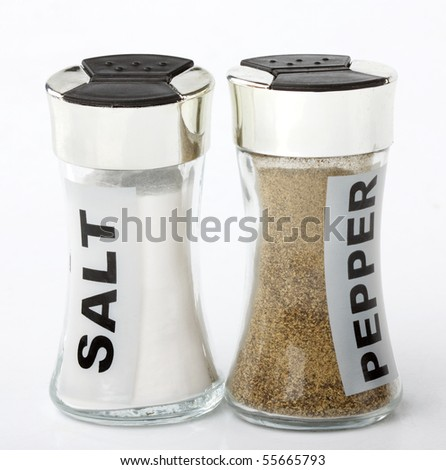 salt and pepper shakers - stock photo
