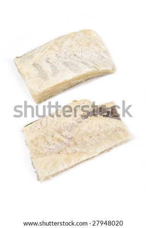 Salt cod isolated on a white studio background
