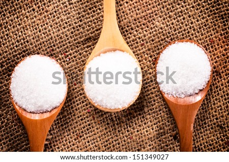Salt crystal in the wooden spoon