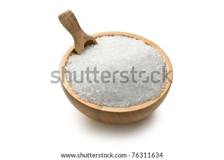salt crystals in wooden bowl