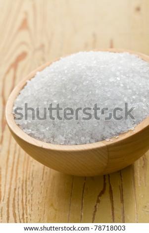 salt crystals in wooden bowl