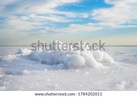 Salt crystals. Salt mining on lake burlinskoye. bursol'. Altai territory.
