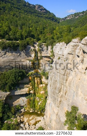 Salt de Sallent waterfall, Rupit, Barcelona, Catalonia, Spain