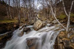 Salt del Molí waterfall, in the Llosa valley in winter (Cerdanya, Catalonia, Spain, Pyrenees) ESP: Cascada del Salt del Molí, en el valle de la Llosa en invierno (Cerdanya, Cataluña, España)