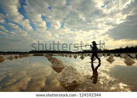 Salt farm in eastern, Thailand