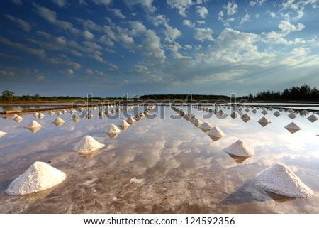 Salt farm in eastern, Thailand
