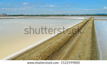 Salt farm located at Samutsakorn province in summer time of Thailand, South East Asia, Asia.